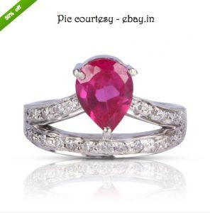 ZEVRR Swarovski Zirconia Studded Designer Sterling Silver Ring at ebay.in