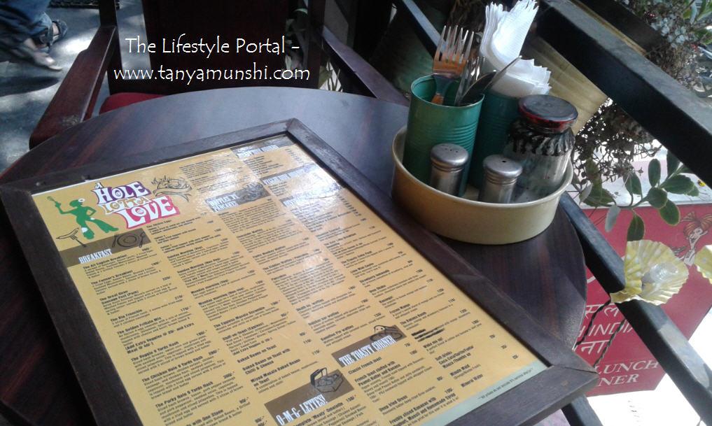 The menu at A Hole Lotta Love