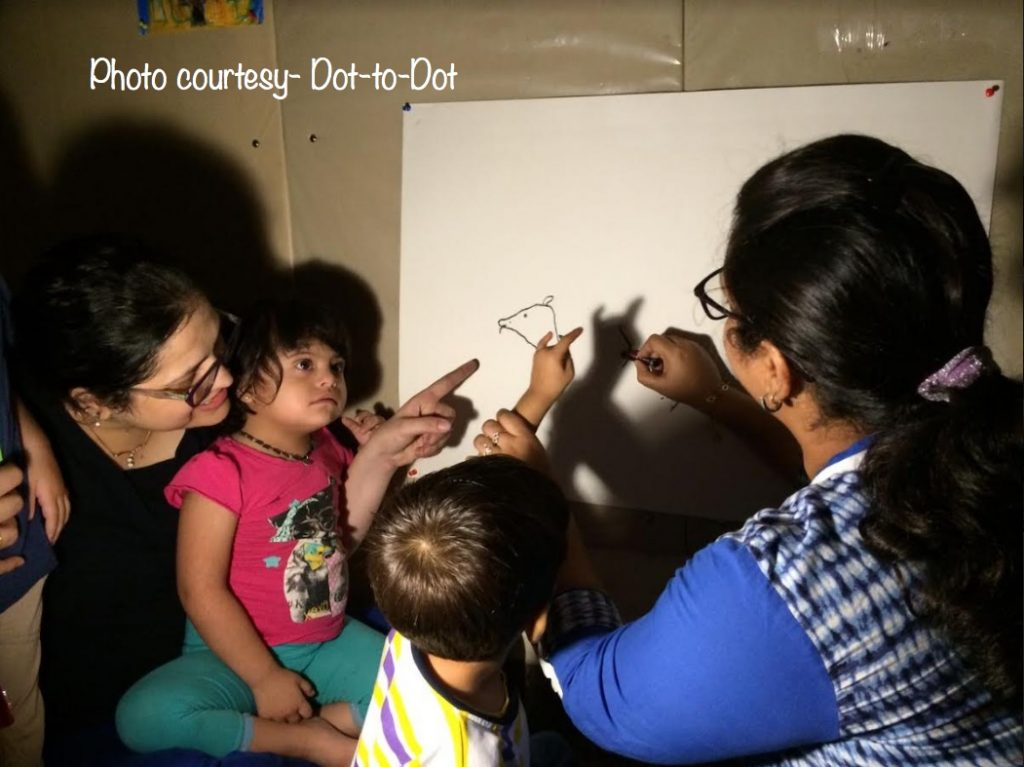 Dot-to-Dot founders Palak & Shuchi at a Shadow Art session