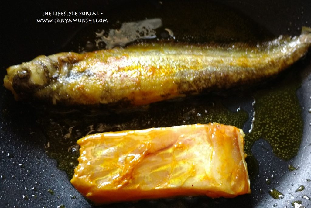 Pabda Maach & Katla fish - shallow frying in hot mustard oil