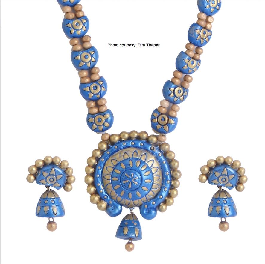 Marisha - Beauty in Blue & Gold - Handcrafted by Ritu Thapar