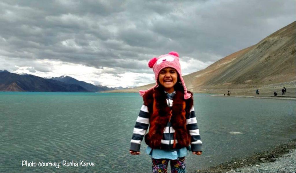 Little Advika, all smiles at Pangong Lake, Ladakh