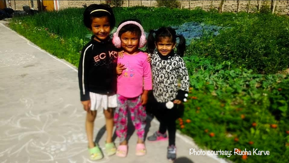 Advika and her new friends in Ladakh