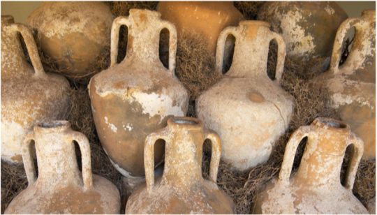 Pots found from ruins of an Ancient Greek house.