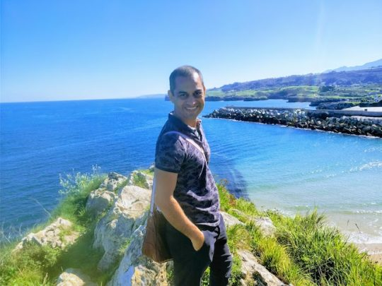 Nitin at the Cubes of Llanes in Basque Country, Spain